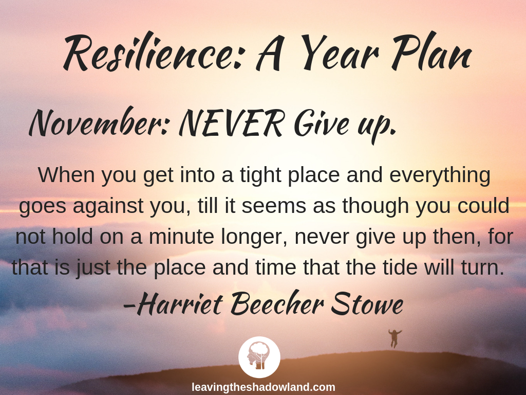 Resilience Plan for November: NEVER Give Up.